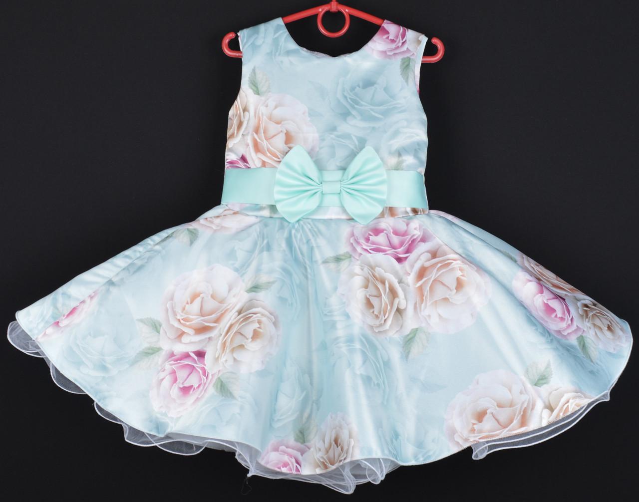 """Платье нарядное детское """"Синтия"""" 6-7 лет. Нежно-голубое с цветочным принтом. Оптом и в розницу"""