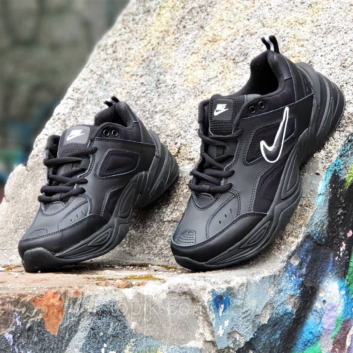Кроссовки мужские кожаные черные модные Monarch (Teknoа) на толстой подошве, пенка легкие (Код: 1404а)