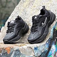 Кроссовки мужские кожаные черные модные Monarch (Teknoа) на толстой подошве, пенка легкие (Код: 1404а), фото 1
