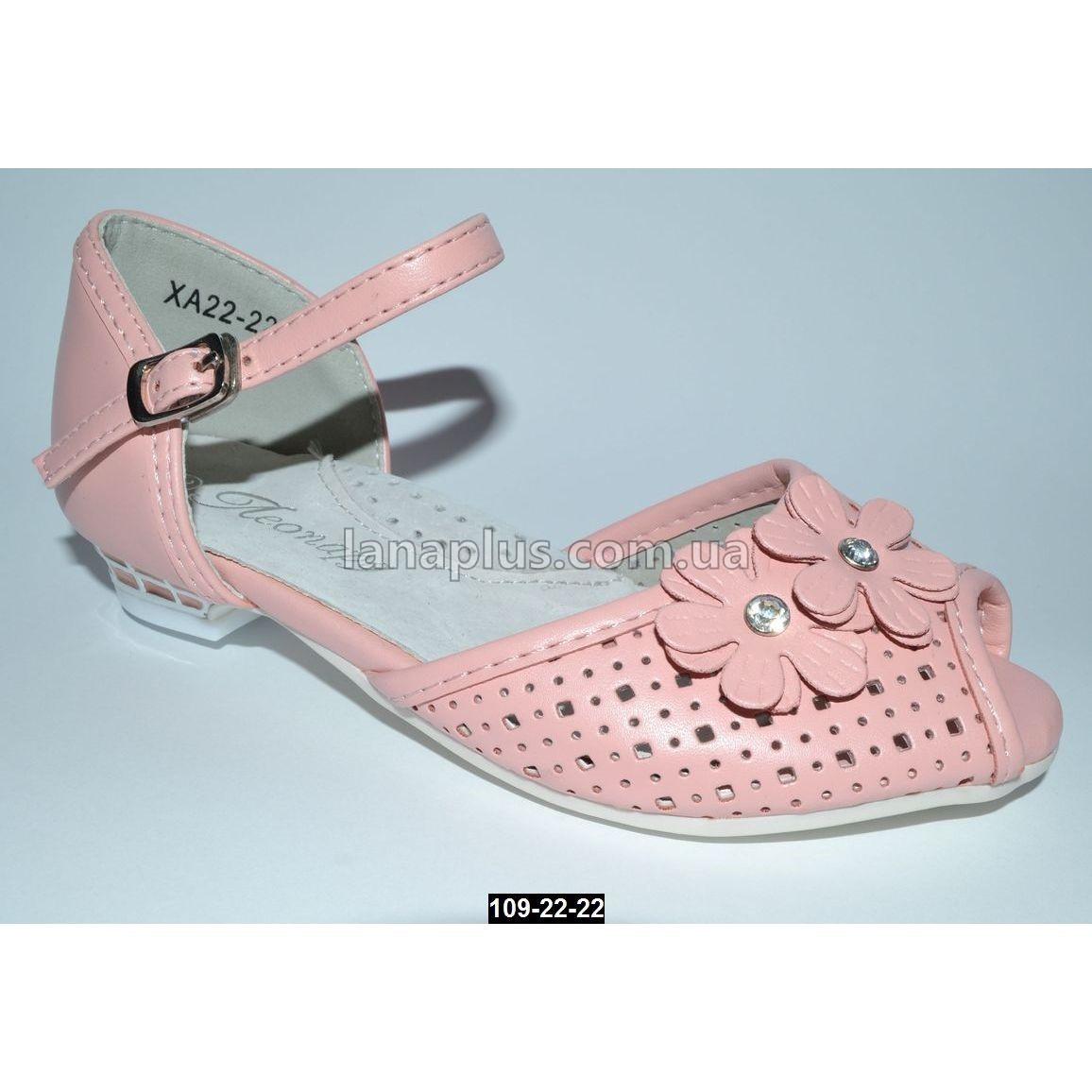 Нарядные босоножки, туфли для девочки, 27 размер (18 см), супинатор, кожаная стелька, 109-22-22