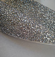 Страхова самоклеюча тканина Silver. Конусні стрази. Ціна за відріз 1х23,5 см, фото 1