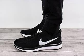 Мужские кроссовки для бега Nike Free Run (Найк Фри Ран) - черные, с белым логотипом, реплика
