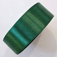 Стрічка атласна 2,5 см. Темно-зелена, моток 23 м