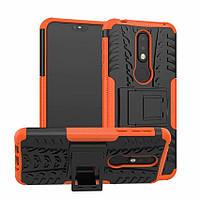 Чехол для Nokia 3.1 Plus / TA-1104 противоударный бампер с подставкой оранжевый