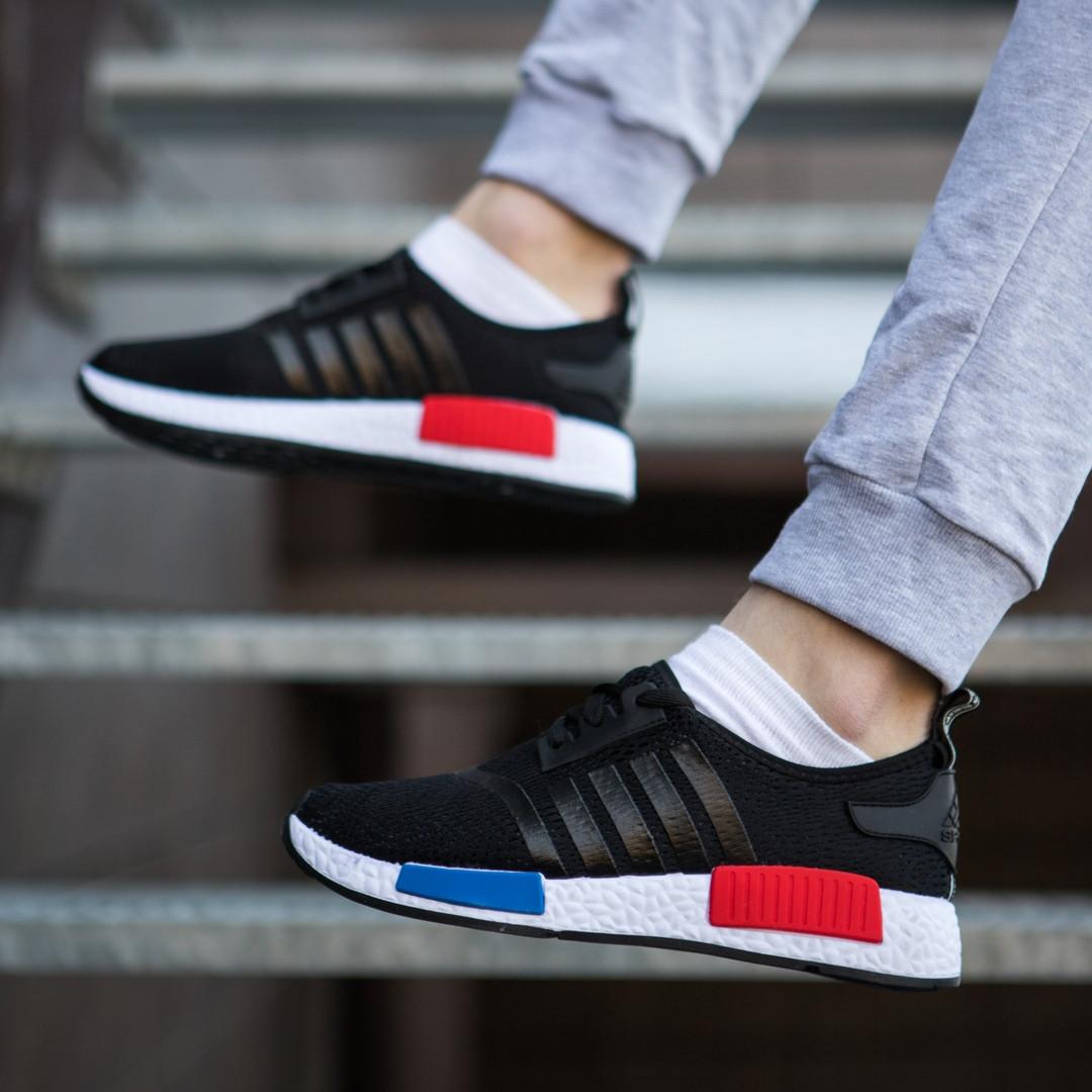 Мужские кроссовки молодежные качественные легкие стильные из эластичной ткани в черном цвете, ТОП-реплика