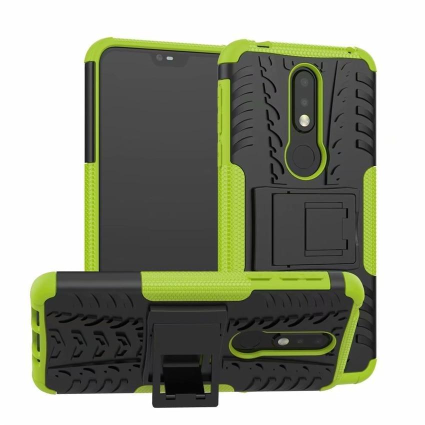Чохол для Nokia 3.1 Plus / TA-1104 захисний бампер з підставкою салатовий