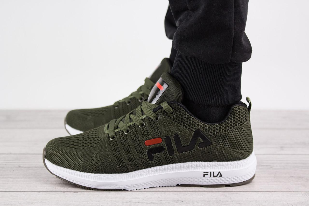 Мужские кроссовки FILA Runner (Фила Раннер, Фила Руннер) - зеленые, с логотипом, реплика