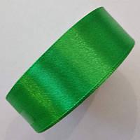 Стрічка атласна 2,5 см. Зелена, моток 23 м