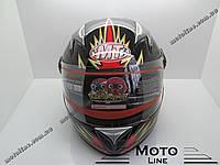 Шлем HF-909( детский закрытый белое стекло) черный MotoTech