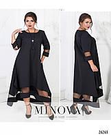 Вечернее черное свободное  платье трапеция размер 50  №130-черный