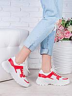 Кроссовки кожа в стиле Balenc!aga бело-красные 6995-28, фото 1