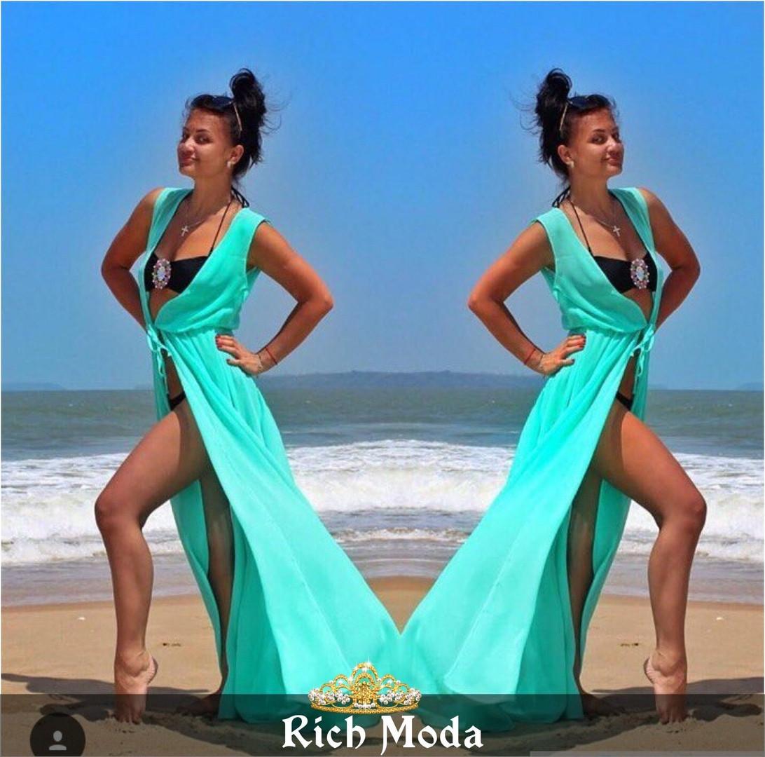 Женский пляжный халат шифон РАЗНЫЕ ЦВЕТА Фабричный Китай