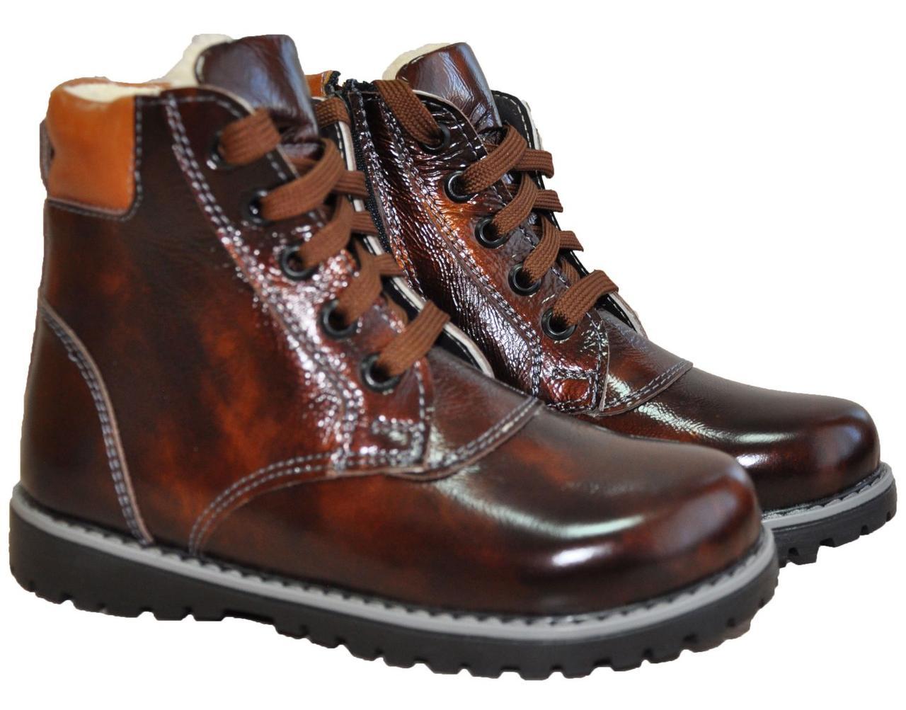 Зимние кожаные профилактические ботинки с жестким задником без супинатора 3081-Коричневые лакированные, размер 30