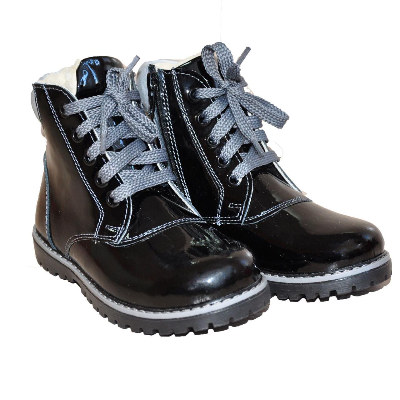 Зимние кожаные профилактические ботинки с жестким задником без супинатора 3081-Черные лакированые, размер 27