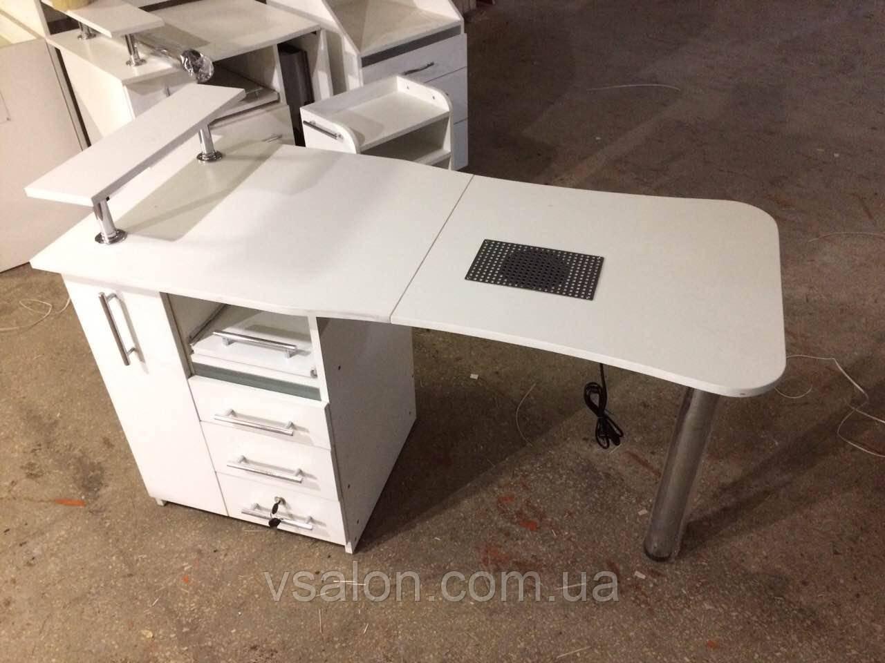 Стіл манікюрний складаний з УФ лампою білий V102
