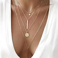 Многослойное ожерелье для женщин Золотая Звезда Gold Star
