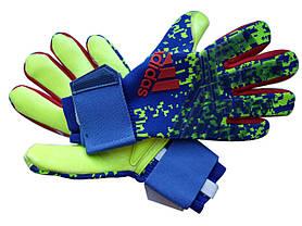 Вратарские перчатки Adidas pro 120 сине-салатовый, фото 3