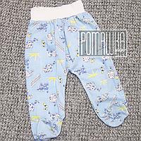 Тонкие ползунки штанишки р 74 5 6 7 месяцев детские с широкой резинкой для малышей ткань КУЛИР 3420 Голубой