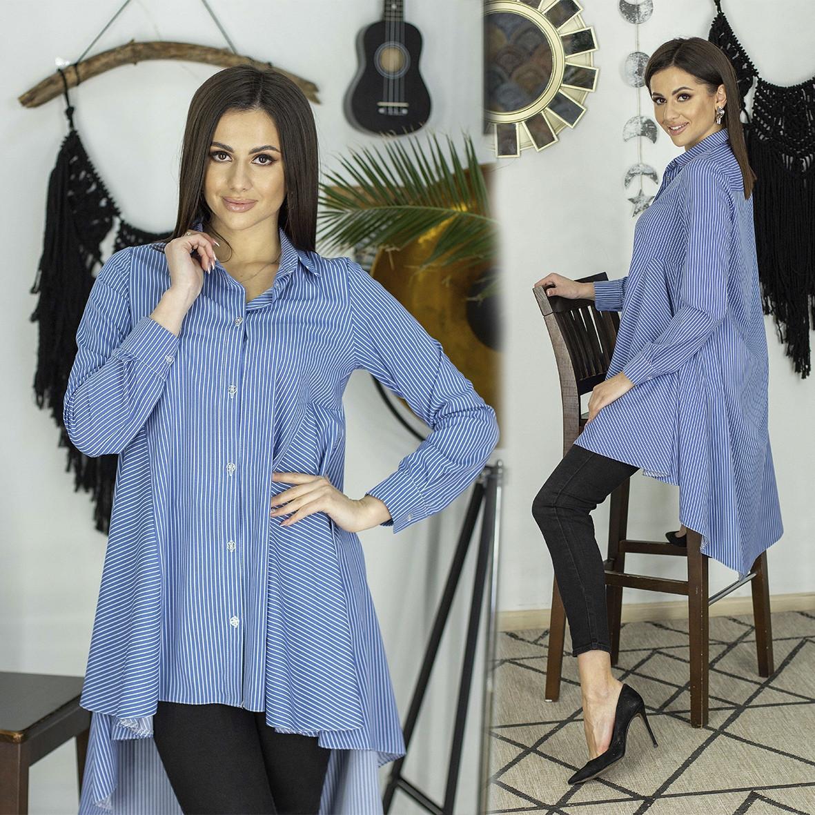 Женская удлиненная сзади рубашка в полоску