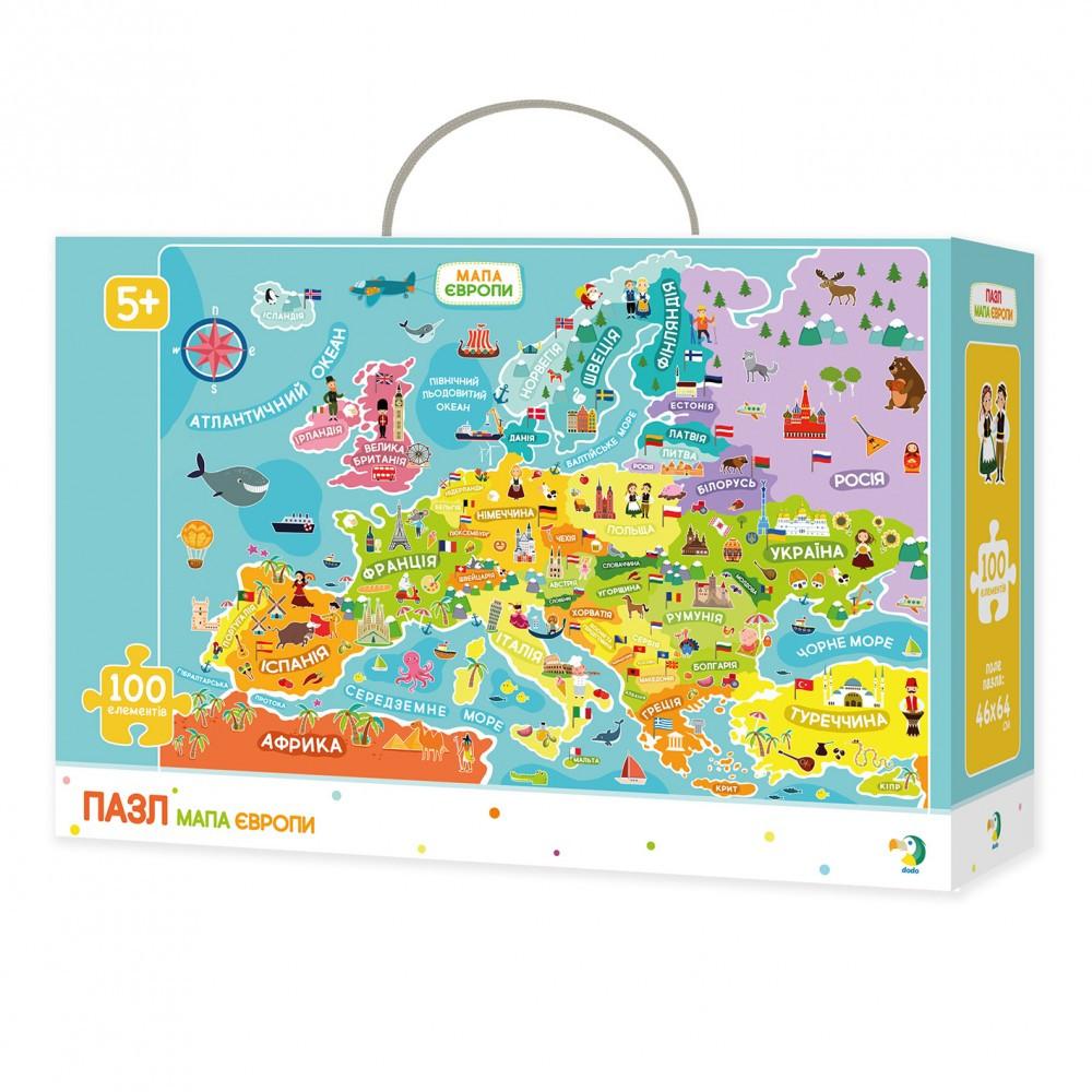 Пазл Карта Европы на 100 элементов, арт. 300129 DODO