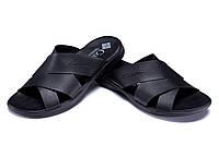 Мужские кожаные летние шлепанцы-сланцы в стиле Columbia черные, фото 1