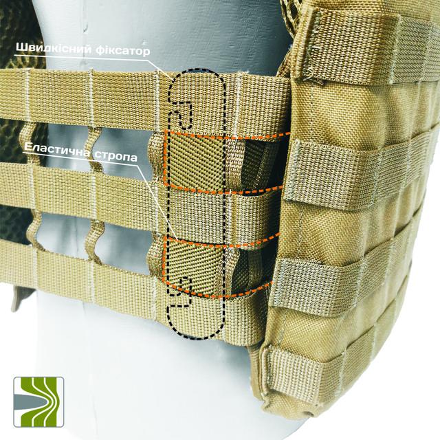 Система фіксації камербанду до плитоноски за допомогою спеціального швидкісного фіксатору який кріпить камербанд до спеціальної еластичної стропи