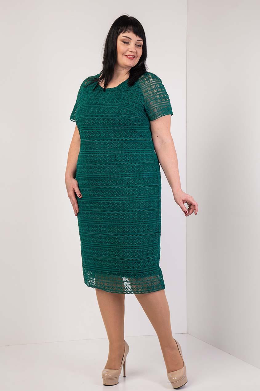Красивое кружевное платье бутылочного цвета 54-60 р-р