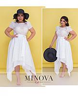 Белое платье большого размера №4114-1-белый 52