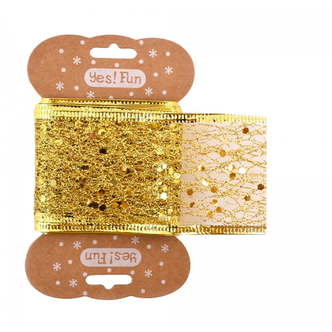Лента декоративная 5 см*2 м, золотая.