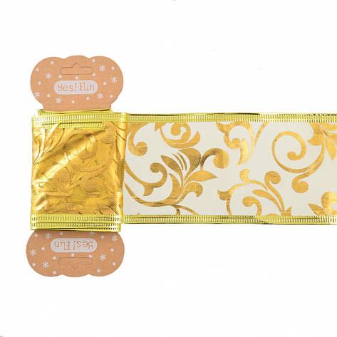 Лента декоративная 6 см * 2 м, золотая, с узором, полупрозрачная, фото 2