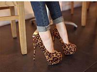 Туфли с леопардовым принтом реплика Christian Louboutin