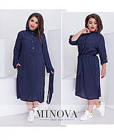 Оригинальное платье с капюшоном норм и большие размеры №475-синий 1(42-44), 3(50-52), 4(54-56),