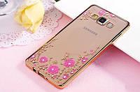 Силиконовый чехол с цветами и стразами для Samsung Galaxy A3/A300H (2015)