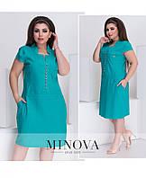 Красивое бирюзовое летнее льняное  платье норма+большие размеры №4735 42 44 46 52 54