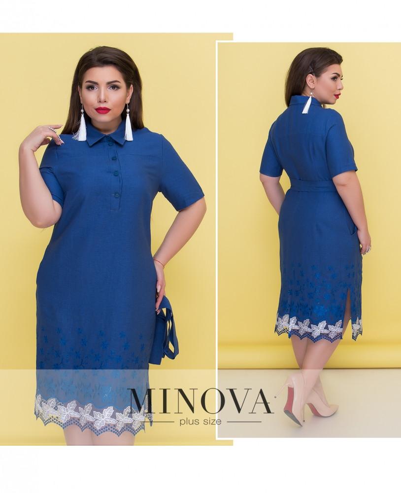 Літній лляне плаття-сорочка великого розміру №292-синій 52 54 56