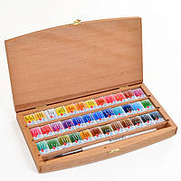Набор акварельных красок БЕЛЫЕ НОЧИ 36цветов., с кисточкой, бук