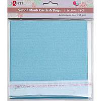 Набор голубых перламутровых заготовок для открыток, 15см*15см, 250г/м2, 5шт.
