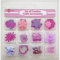 Набор декоративных украшений для скрапбукинга, 12шт/уп., розовый