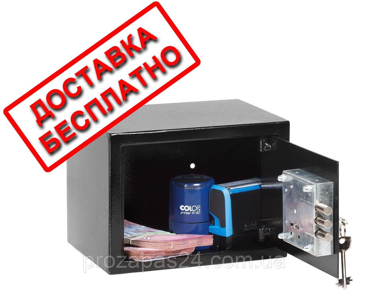 Сейф мебельный черный СМК-1710 для дома офиса ВхШхГ 17х23х17см