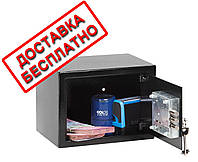 Сейф мебельный черный СМК-1710 для дома офиса ВхШхГ 17х23х17см, фото 1