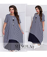Легкое летнее платье большого размера №1273-синий 46 48 50 52