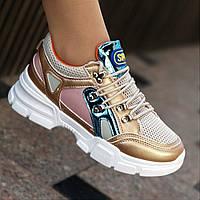 Женские модные кроссовки на толстой подошве, летние (Код: М1415)
