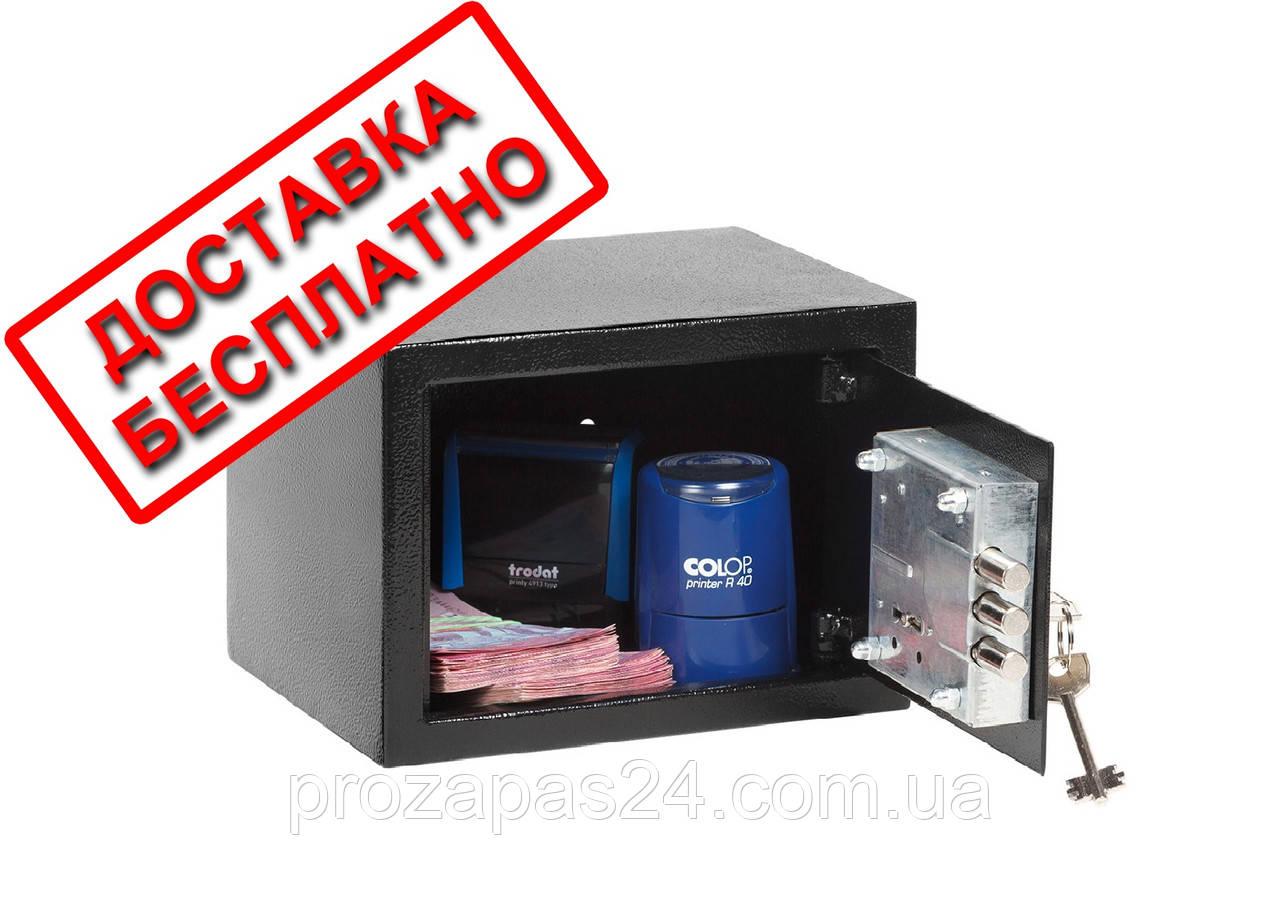 Сейф мебельный черный СМК-1510 для дома офиса ВхШхГ 15х21х17см