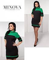 Красивое платье большого размера №2005-зеленый-черный 54 56 58
