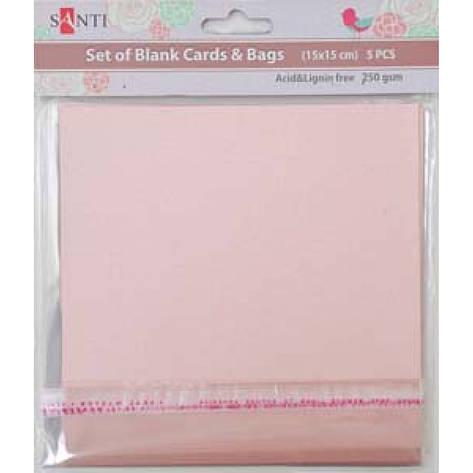 Набор розовых перламутровых заготовок для открыток, 15см*15см, 250г/м2, 5шт., фото 2
