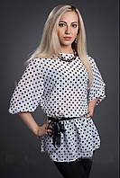 Белая блуза в черный горошек, размеры 42-44,46-48