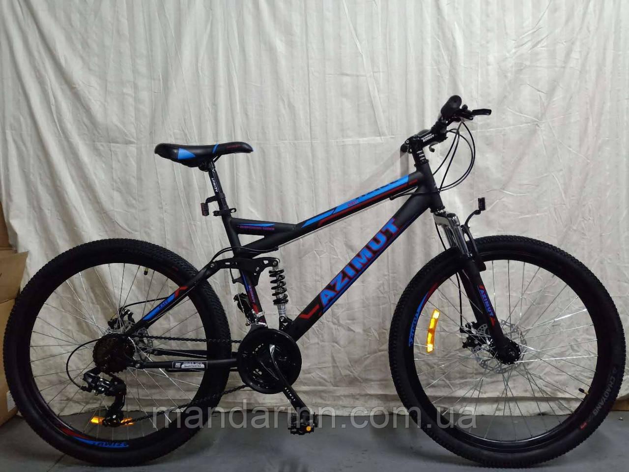 Горный велосипед Azimut Race 26 дюймов. Дисковые тормоза. Синий.