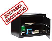 Сейф мебельный черный СМК-2510 для дома офиса ВхШхГ 25х35х25см
