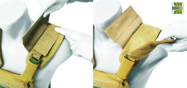 Регулювання плечових лямок за допомогою наліпки ВЕЛКРО, та додаткової  фіксації  клапаном у плитоноскі з системою швидкого скидання.
