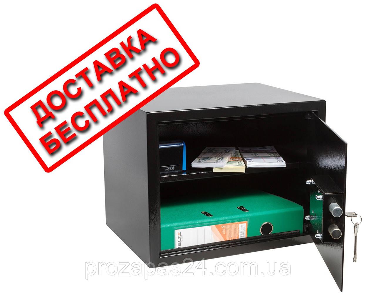 Сейф мебельный черный СМК-3010 для дома офиса ВхШхГ 30х38х30см
